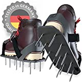 Lawn Aerator Shoes - HEAVY-DUTY Aerating Tool with A NEW Spike's Grip System and IMPROVED Heel Support - Lawn Sandals with 24 Aerating Spikes, Easily Fix Brown Spots On The Yard (One-Size-Fits-All)