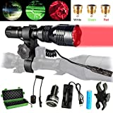DOTSOG Tactical Hunting Flashlight Kit,with Interchangeable 3 LED (Red, Green, White) Modules,High Power Predator Night Flashlight Torch with Scope Mount for Hog Coyote Coon Bobcat Raccoon Varmint