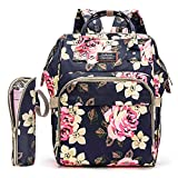 Srotek Diaper Bag Backpack Floral Baby Bag Water-Resistant Baby Nappy Bag with Insulated Water Bottle Bag/Changing Pad for Women/Girls/Mum (Flower Pattern)