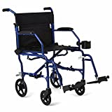 """Medline Mobility Ultralight Transport Wheelchair, 19"""" Wide Seat, Permanent Desk-Length Arms, Swing Away Footrests, Blue Frame"""