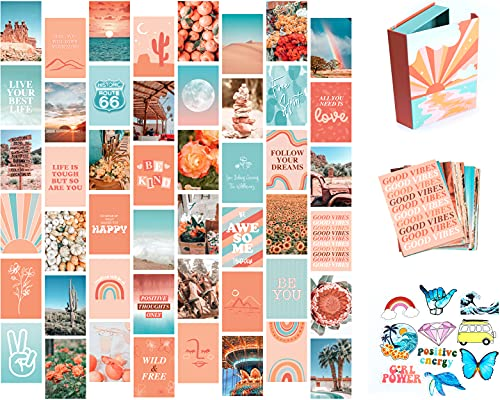 Artivo Peach Teal Wall Collage Kit for Aesthetic Pictures, 50 Set...