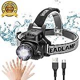 Ezfull Lampe Frontale LED, Torche Frontale USB Rechargeable avec Détecteur de Mouvement, 4 Modes...