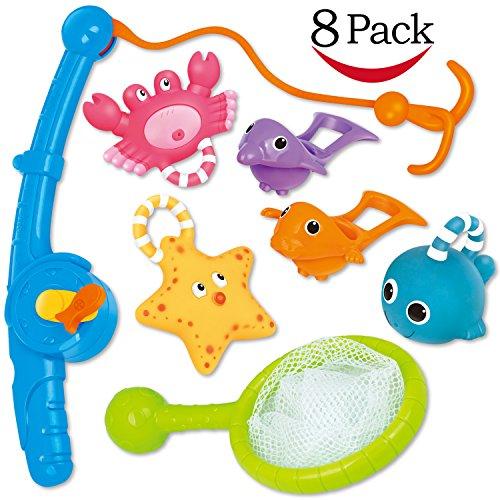 FUNHORN Toys Set Pesca Giocattolo - Animali Marini da Pescare - Giochi per Bagnetto con Retino e Canna da Pesca - Set da 8 Pezzi. Perfetti per Piscina, Bagno per Bimbi e Bimbe con Sacca per Trasporto