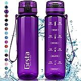 Grsta Gourde Sport, Bouteille 350ml/500ml/800ml/1l/1,5l, Bouteille d'eau avec Filtre et marqueur de Temps,...