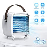 Portable Desk Cooler Fan, SmartDevil Personal Air Cooler with Ice Tray, Mini Desk Cooling Fan for Home Office Bedroom, Super Quiet, Night Light Features (White)