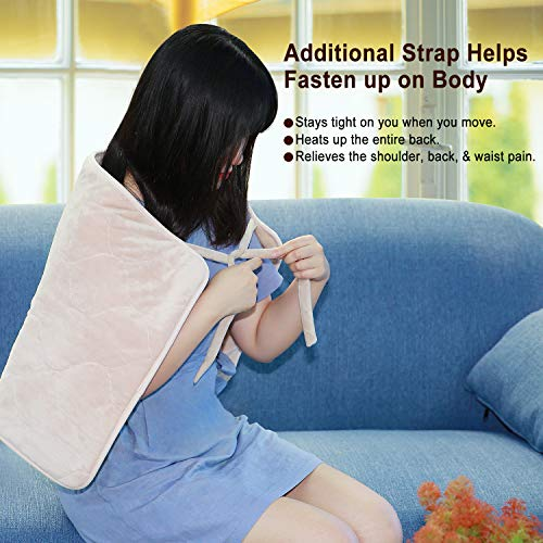 MaxKare Heating Pad Electric for Back Pain Auto Shut Off Large Size 18' x 33', Soft Fabrics 5 Temperature Settings with 4 Straps, Machine-Washable Relief Neck Shoulder Body Pain
