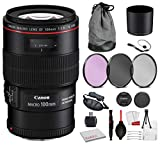 Canon EF 100mm f/2.8L Macro is USM Lens (3554B002) Bundle with Professional Bundle Package Deal Kit for Canon EOS Includes: 3PC Filter Kit, Pro Camera Hand Strap + More