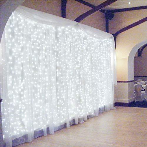 600 LED 6Mx3M Zorela Tenda Luminosa Natale IP44 Impermeabile Luci di Natale 8 Modalit Tenda Luminosa Esterno Bianco Freddo Tenda di Luci Esterno LED Luci Stringa per Natale, Giardino e Matrimonio