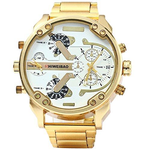 FENKOO Herren Militäruhr Quartz Kalender/Duale Zeitzonen Edelstahl Band Armbanduhr Gold
