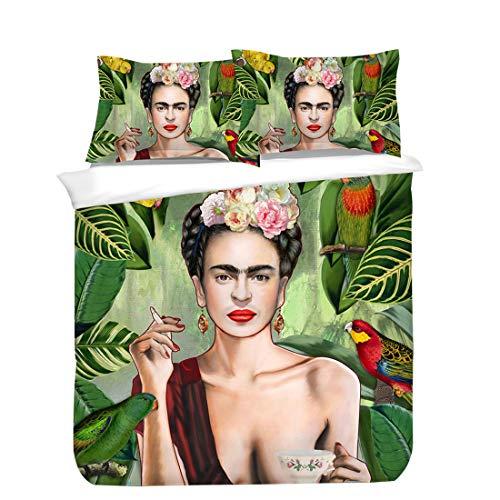 Cnspin Frida Kahlo Cubierta De Edredón Impresa Dormitorio De Impresión 3D Dormitorio Familiar Decorativo Ropa De Cama Incluye 1 Funda De Edredón Y 2 Fundas De Almohada,D,2pcs 140x210cm
