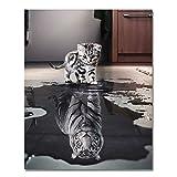 Rihe Malen nach Zahlen DIY Ölgemälde Katze oder Tiger Leinwanddruck Wandkunst Dekoration(Ohne Rahmen)