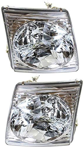 Headlight Set Compatible with 2001-2005 Ford Explorer Sport Trac 2001-2002 Left Driver and Right Passenger Side Halogen With bulb(s)
