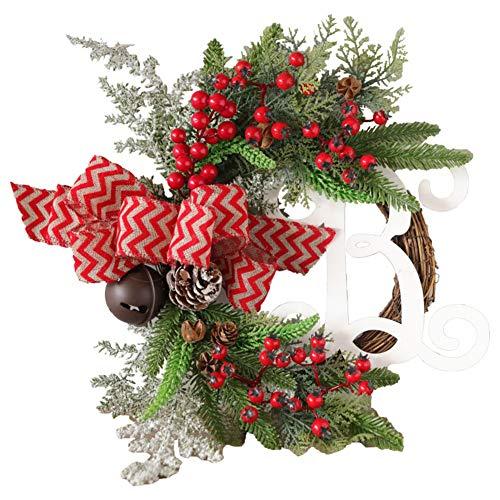 Waroomss Weihnachtskranz Kreativer Weihnachtssimulationskranz Hängendes Handgemachtes Rattan, Das Für Weihnachtsdanksagungs-Dekoration Hängt Rattan-Wandverzierung