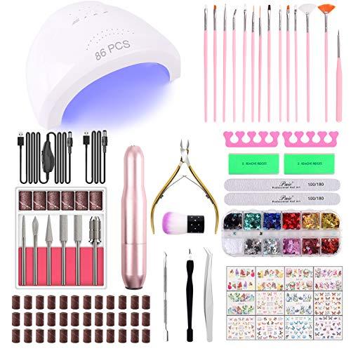 86PCS Portable USB Electric Nail Drill Set Polish Pen File Kit, 48W UV LED Nail Lamp Gel Manicure Dryer Lamp, Acrylic Nail 3D Art Drill Dryer Manicure Supplies, Nail Files Tool Polish Decorating