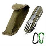 AMZANDY NEW - Cubiertos plegables de acero inoxidable 8 en 1 multifunción, cubiertos de supervivencia al aire libre (con funda para cinturón, cuchillo, tenedor, sacacorchos, etc.)