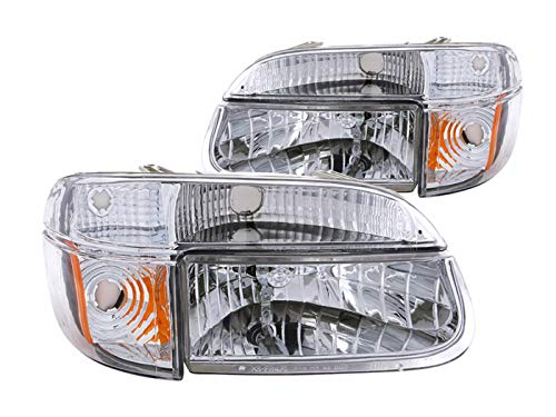 Anzo USA 111040 Ford Explorer Crystal with Amber Corner Chrome Headlight Assembly - (Sold in Pairs)