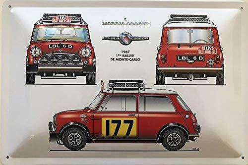 Deko7 Targa in Metallo 30 x 20 cm Morris Cooper Rosso Rallye Monte-Carlo 1967