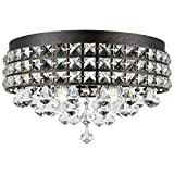 Kira Home Gemma 15' Modern Chic 4-Light Flush Mount Crystal Chandelier + Round Metal Shade, Dimmable, Brushed Black Finish