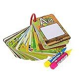 FLORMOON Tablero de dibujo de niños Tarjeta de Pintura de Agua A-Z 26 Cartas de Pintura de Agua de Letras Reutilizables para Mostrar Tarjetas de Palabras, 2 bolígrafos mágicos incluidos