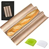 COSYLAND Perforated Baguette Pan for French Bread Baking - 3 wave Loaf, Nonstick Bake Mold - Dough Scraper + Cooking bakers' tools for Professional & Home Bakers (Gold)