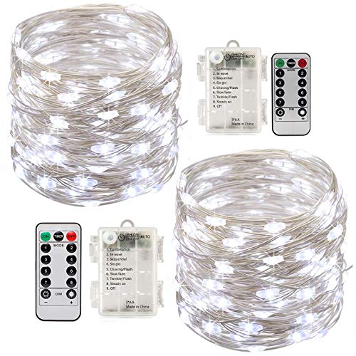 Stringa Luci Led,[2 Pack]Catene Luminose 10 metri 100LEDs Stringa Luci LED Impermeabile IP65 per Uso Interno ed Esterno per Decorazioni Festive e Natale (Argento)