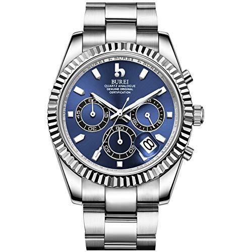 BUREI Men Multifunktionsuhren mit Datumsanzeige Luminous Business Chronograph Watch Edelstahlarmband