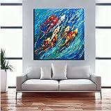 wZUN Lienzo Abstracto Pintura Mural Imagen Pintura China Colorido pez koi Sala de Estar decoración Pintura 50x50 cm