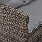 SVITA Monroe Polyrattan Ecksofa Rattan-Lounge Esstisch Gartenmöbel-Set Sofa Garnitur Couch-Eck - 2