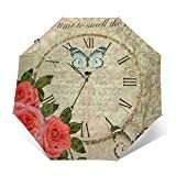 Paraguas plegable automático con diseño de mariposas y reloj antiguo de Rosas, tres pliegues, resistente al viento, transparente