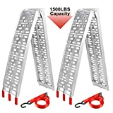 F2C Pair 7.5' Folding Trailer Loading Ramps 1500 lbs Capacity with 2 Straps for ATV UTV Motorcycle Car, Pickup Truck, Lawn Mover, Snow Blower, Aluminum