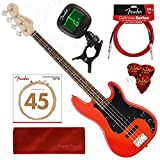 Squier by Fender Affinity Series Precision Bass PJ Beginner Electric Bass Guitar, Race Red Bundle with Tuner, Strings, Picks, Cable & Cloth Starters Pack