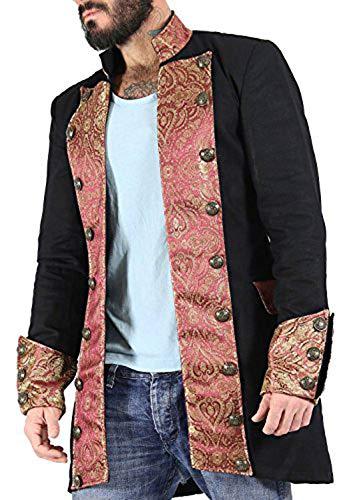 Eimee Men's Cotton Shrine Gothic Steampunk Vintage Dress Coat Pirate Miltary Top SPML