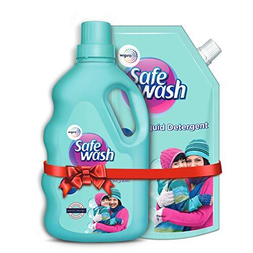 Safewash Woolen Liquid Detergent by Wipro, 1L Bottle + 1L Pouch Free