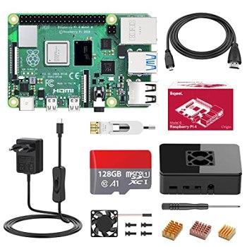 Bqeel Raspberry Pi 4 Modèle B(4 B), 2Go Starter Kit Upgraded for Raspberry Pi 3 64Go Micro SD Carte, 4K, BT 5.0, 1000Mbps, USB 3.0, Alimentation avec Interrupteur, Ventilateur,Dissipateur