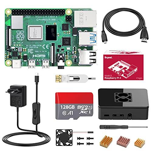 Bqeel Raspberry Pi 4 Model B 【4GB RAM+128GB MicroSD 】 RPi Barebone con Accesorios BT 5.0, Doble WiFi, Micro HDMI, Estuche, Fuente de alimentación 5.1V 3A con Interruptor