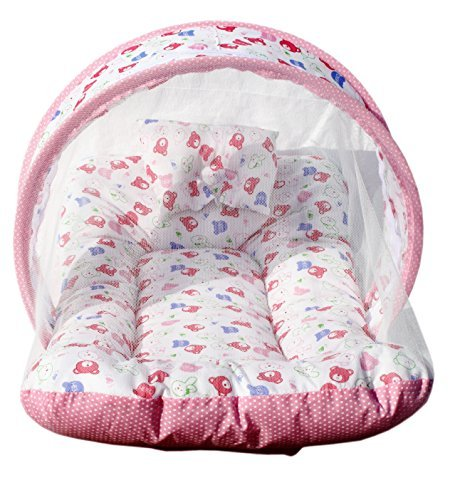 Amardeep Toddler Mosquito and Insect Protection Net/Mattress Pink Teddy Print 70 * 40 cms
