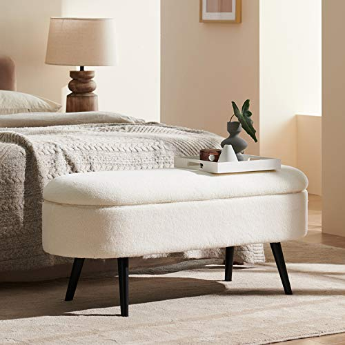 Harmati Sherpa Storage Bench for Bedroom - White End of Bed Bench Ottoman with Storage, Upholstered Bench with Solid Wood Legs for Living Room, Entryway