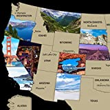 Scratch off Map United States of America Travel Poster 17 x 24 Wall Art Decor Photos of National Parks and other Iconic locations Includes State Flags Scratch Pen Guitar Pick and Gift Tube