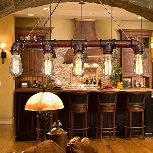 Lixada Pendant Lights Ceiling Indoor Lighting Vintage Retro Triple Lamp Hoder Bronze Metal for 5 E27 Bulbs Room Bar Decoration (Bulb Not Included) (DIY & Tools)