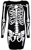 For G and PL Halloween Women's A Line Long Sleeve Skeleton Funny Costume Tunic Dress White Skeleton M