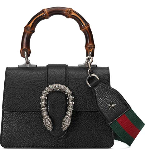 "518GHBUty1L Gucci Mini Leather Satchel Black Web Dionysus Strap NERO/ VERT RED/ BLACK DIAMOND, Size One Size 8""W x 5 ½""H x 3 ½""D. (Interior capacity: small.) 4"" strap drop; 14"" - 22"" shoulder strap drop. 1.9 lb. A bamboo top handle and a removable web shoulder strap multiply the styling options of a mini leather bag with tiger-head spur hardware encrusted in crystals. Pin stud closure with side release Top carry handle; removable, adjustable shoulder strap Divided interior; wall pocket Leather Made in Italy New w tags. Authenticity Controllo Card. Dustbag. Tags"