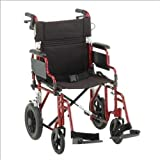 Nova Comet 352 19' Transport Bariatric Wheelchair with Removable Desk Arms Color: Red