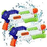 lenbest 2 Pack Pistolas de Agua, 1200ML Pistola Agua Juguete, Pistolas de Agua Grandes, Juguete Infantil para Batalla de Agua Jardín, Playa, Piscina Al Aire Libre, Niño, Adulto