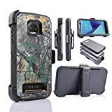 customerfirst for Motorola Z2 Force [Four Layered Protection] Heavy Duty Defender Holster Armor Case with Built in Screen Protector (CAMO)