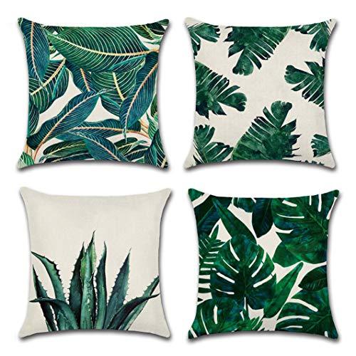 MaoXinTek Fodera per Cuscino Cotone Lino Decorativo Quadrato Federe Stampato Stile Tropicale Foglie...