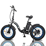 "ECOTRIC 20"" Fat Tire Folding Electric Bicycle Bike Powerful 500W 36V/12.5AH Lithium Battery Alloy Frame Ebike Rear Motor LED Display"