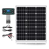 Sun Energise 50W 12V Solar Panel Kits- 50 Watt Mono Crystalline Solar Panel + Intelligent 10A Charge Controller with Dusk to Dawn Control + Cable Adapters for Off Grid Boat, Marine, Trailer, Cabin