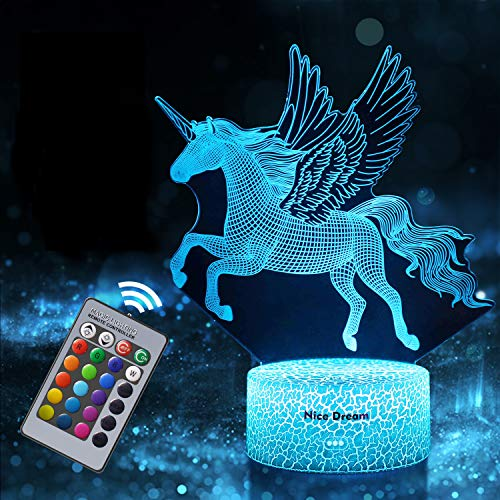 Einhorn Geschenk Einhorn Nachtlicht für Kinder, Einhorn 3D Licht Lampe 16 Farben ändern mit Remote...