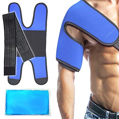 """Shoulder Ice Gel Cold Pack Wrap for Injuries Reusable, Rotator Cuff, Sprains, Arthritis, Bursitis, Tendinitis, AC Joint Pain Relief and More - Pro Design & Effective (6""""X 9.6"""")"""