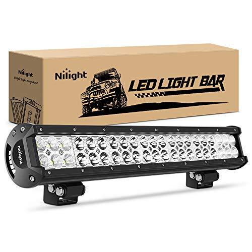 Nilight 20Inch 126W Spot Flood Combo Led Light Bar Off Road Lights Boat Lighting Fog Light Driving Lights LED Work Light for Trucks,2 Years Warranty